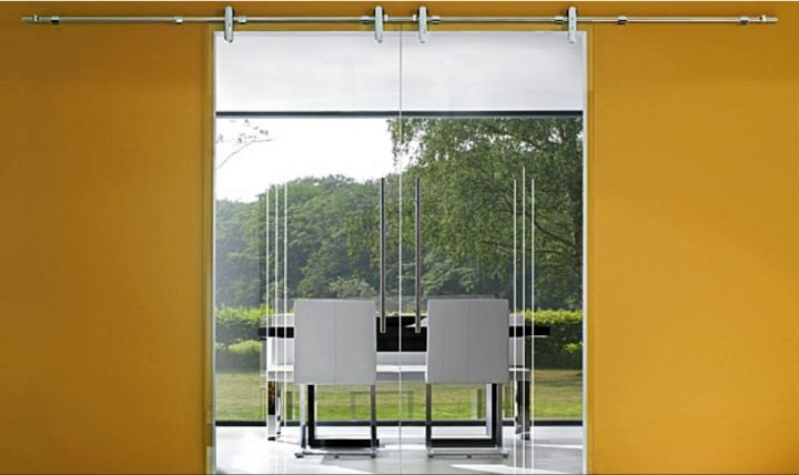 modern sliding glass door designs in yellow