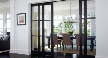 modern sliding glass door designs with dark wood frame