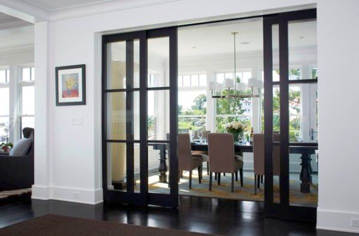 modern sliding glass door designs with dark wood frame