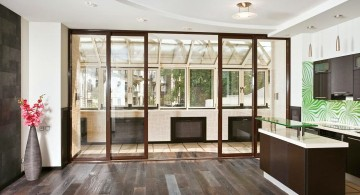 modern sliding glass door designs with wooden floor