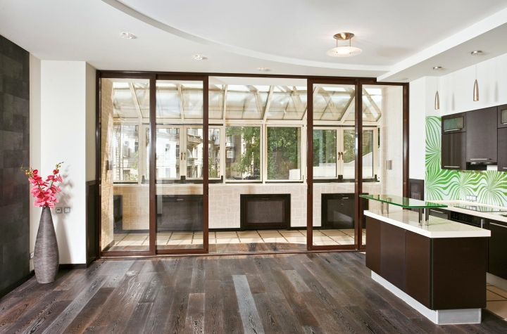 modern sliding glass door designs with wooden floor