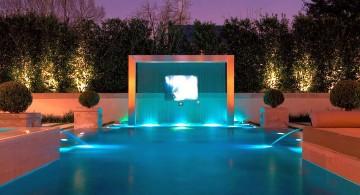 modern waterfalls for pools inground with beautiful lighting
