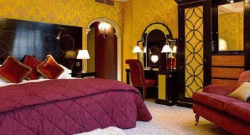 most romantic bedrooms in gold and purple