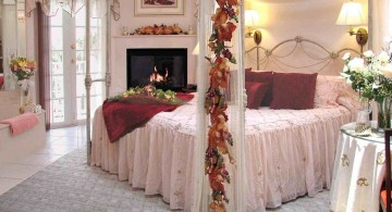 most romantic bedrooms in white with red flowers