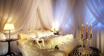 most romantic bedrooms with candles and pearls