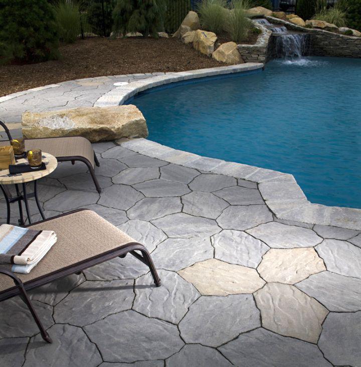 paved pool deck stone