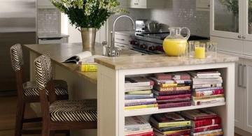 repurpose bookshelves in dining room as separator