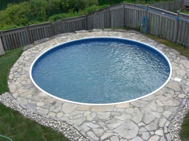 round inground swimming pools for small spaces with stone