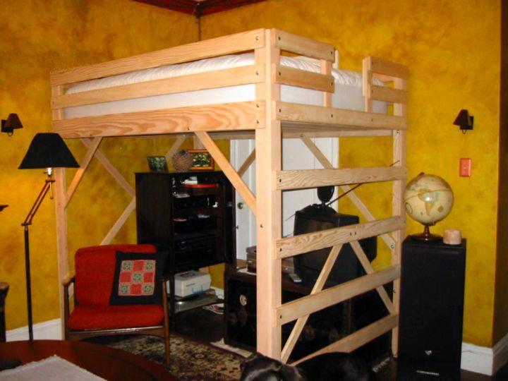 simple adult loft beds with desk