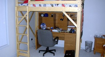 simple minimalist adult loft beds with desk