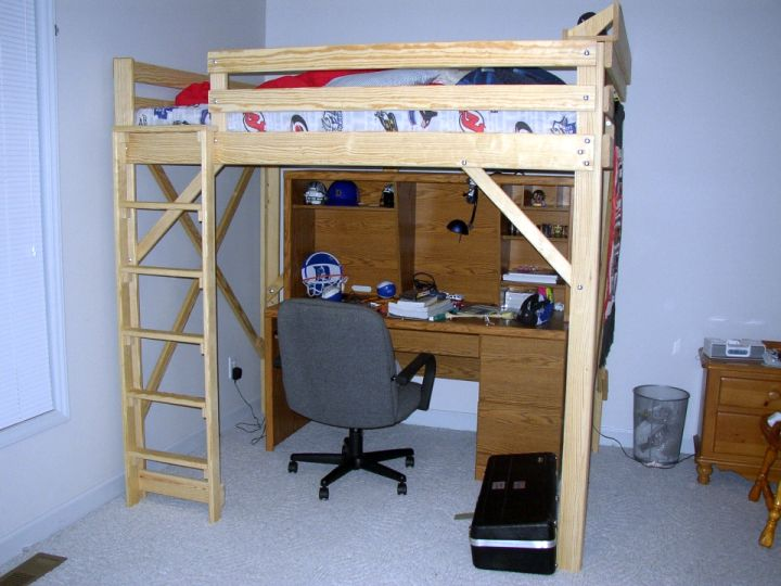 simple minimalist adult loft beds with desk