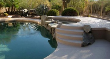 simple paved pool deck stone
