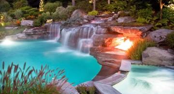 spacious waterfalls for pools inground