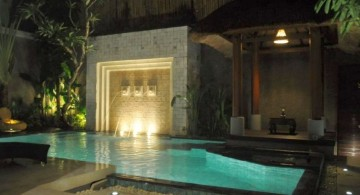 swimming pools for small spaces with waterfall and Balinese gazebo