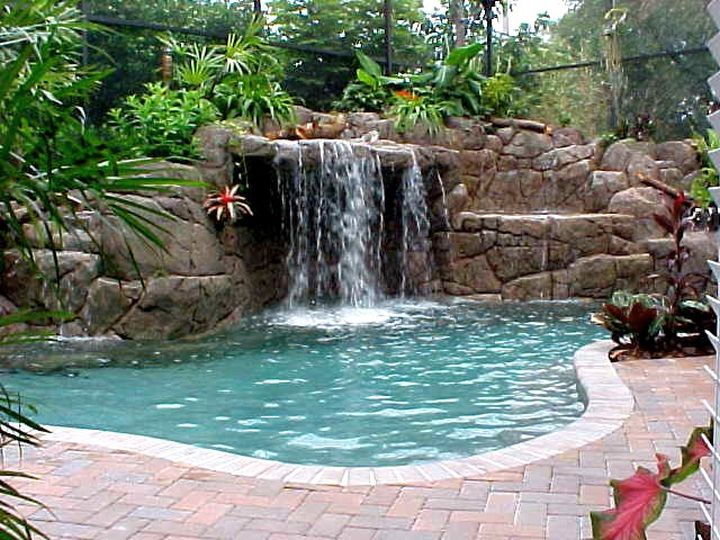 50 tall waterfalls for pools inground - Swimming Pools With Waterfalls