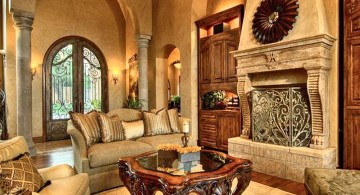 tuscan living room colors in sandstone and beige walls with dark wood coffee table