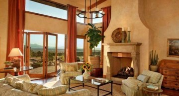 tuscan living room colors with beige walls and terracotta curtains
