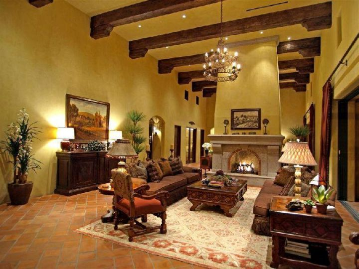 tuscan living room colors with dark wood beams and beige walls