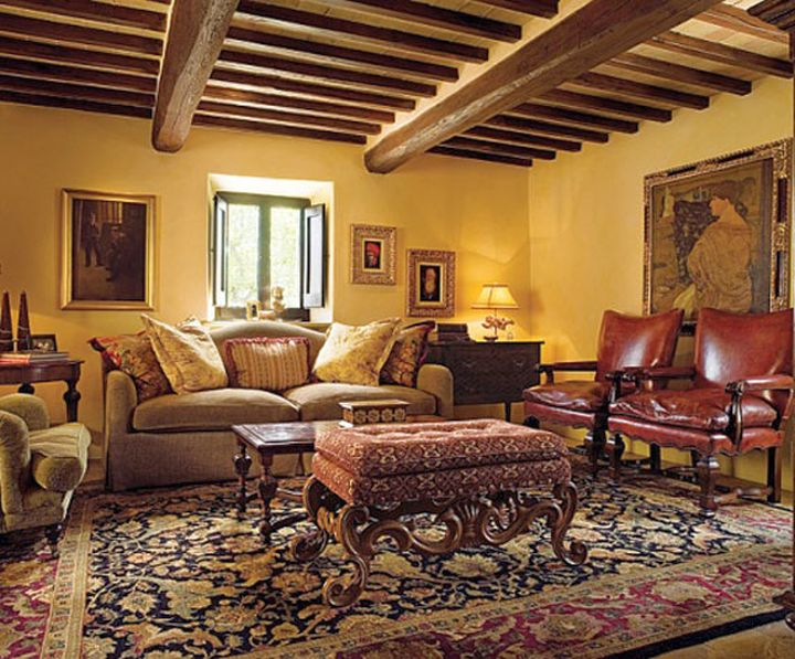 Tuscan living room colors with dark wood beams - Colors for interior walls in home design ...