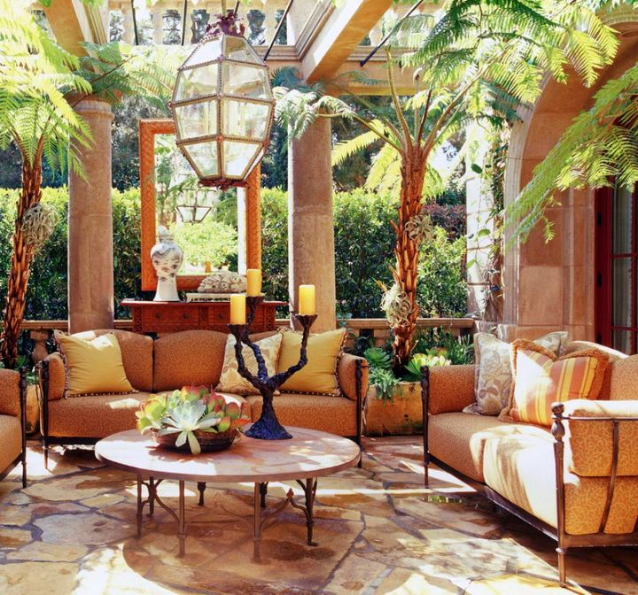tuscan living room designs with skylight and pendant lamp