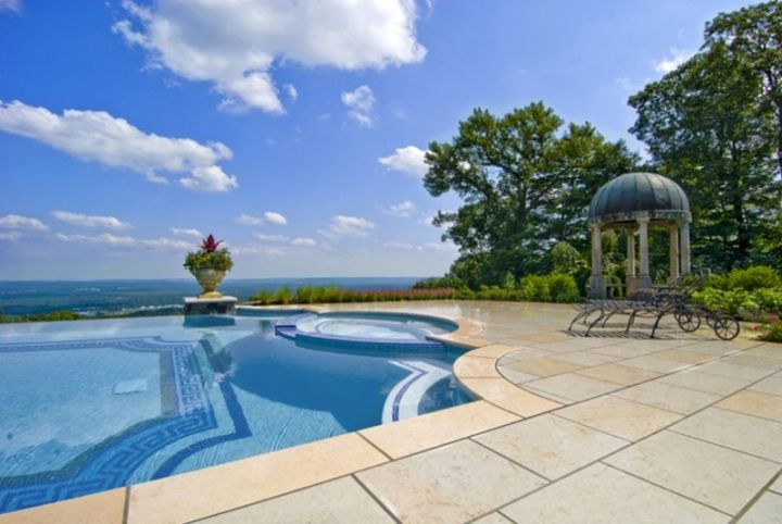 two toned blue mosaic best pool tile