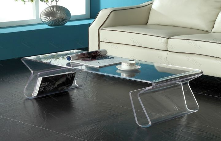 Unique Acrylic Coffee Tables With Magazine Shelf