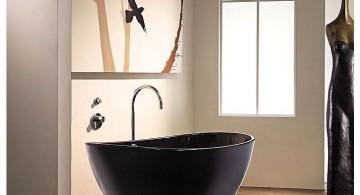 unique black bath tub Japanese bathroom designs