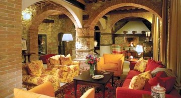 unique tuscan living room colors with bright colored sofa