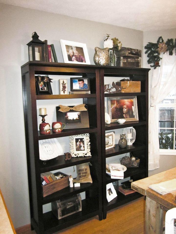vintage bookshelves in dining room