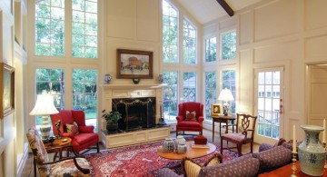 warm cathedral ceiling living room with red rug