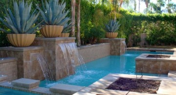 waterfalls for pools inground for geometric pool for small space