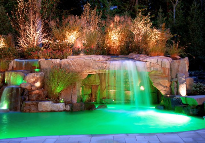 waterfalls for pools inground with beautiful lighting