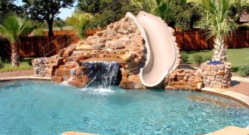 waterfalls for pools inground with slide attached