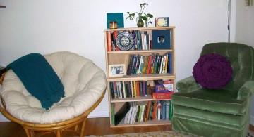 white and rattan papasan round reading chair