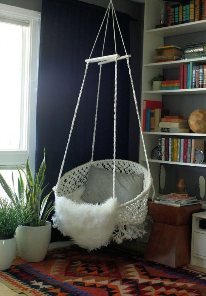 white hanging marrakech chair round reading chair