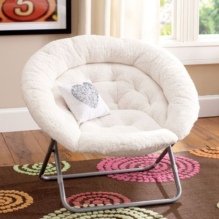 white papasan round reading chair