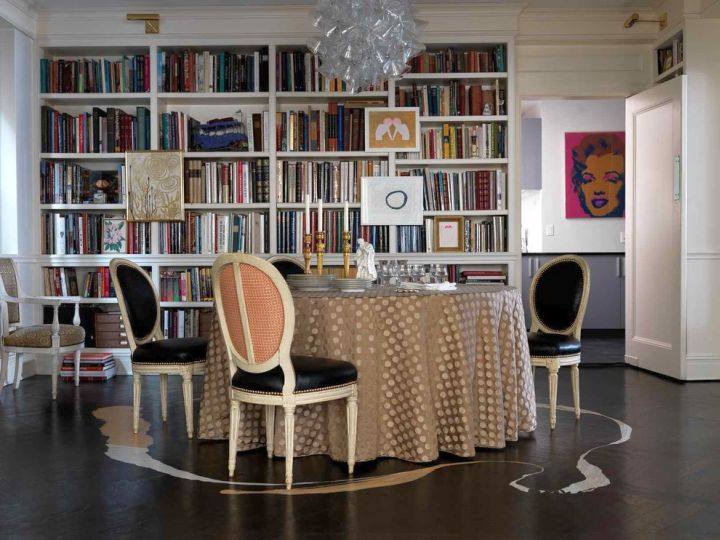 Simple but attractive bookshelves decoration in dining room - Exclusive decoration of book shelf ...
