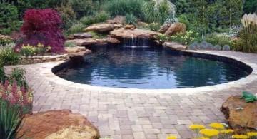 wide freeform waterfalls for pools inground