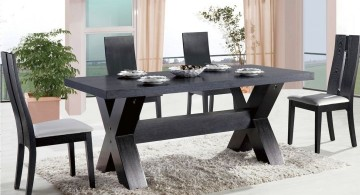 zen dining rooms in all black with contemporary dining table
