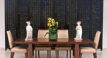 zen dining rooms with a pair of Chinese statuettes