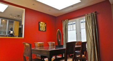 zen dining rooms with red walls