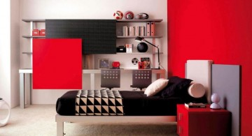 Adorable Teenage Bedroom Decorating Ideas for Boys Featuring Red Background Wall