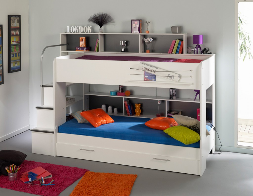 All White Modern Kids Loft Beds Design Featuring Built In Drawers And Staircase
