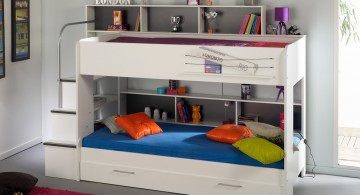 All White ModernKidsLoftBedsDesign Featuring Built-in Drawers and Staircase