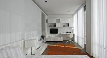 All white modern home office in master bedroom design ideas