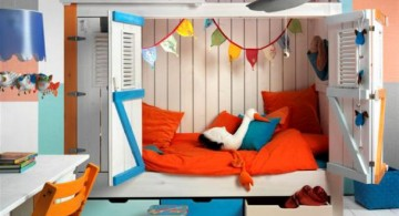 Colorful Modern Kids Loft Beds Design with Beach House Theme