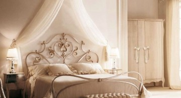 Exotic canopy bed frame for feminine look in woman bedroom