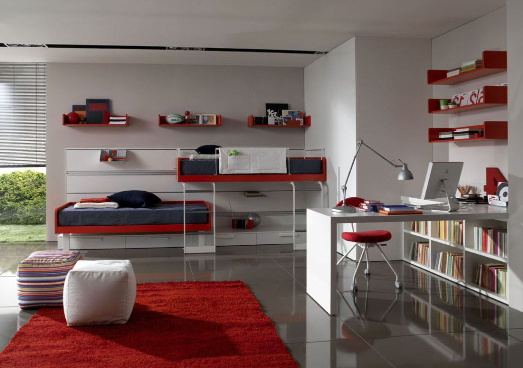 Fancy White Themed Teenage Bedroom With Mounted Red ...