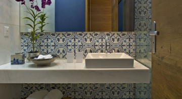 Fantastic modern bathroom interior with floral tiles on the wall