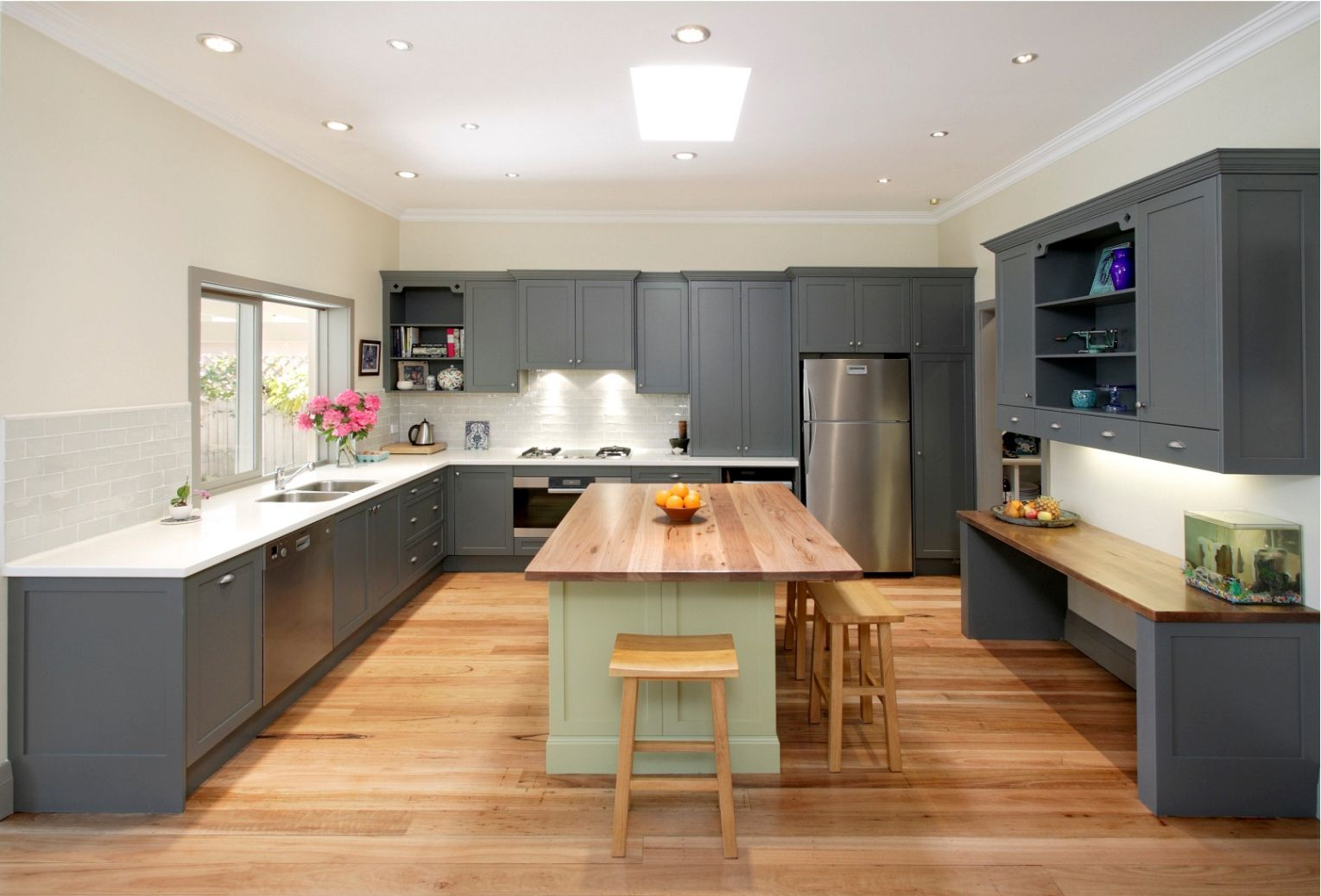 gray kitchen cabinets with white countertops for large modern